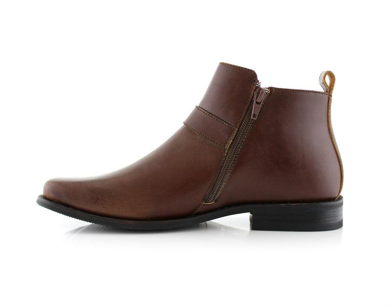 Square Toe Brown Ankle boots with zipper