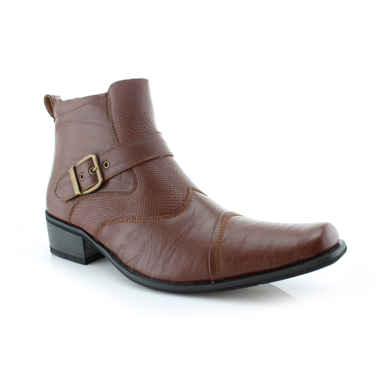 Brown Snake Skin Cowboy Faux Leather Boots Alejandro Side View