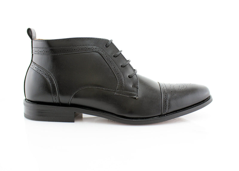 Men's Chukka Mid-Top Formal Faux Leather Black Business Shoes Harvey Side View