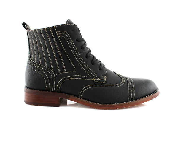 Black Chukka Boots with Full Brogue & Wingtip For Men Side View