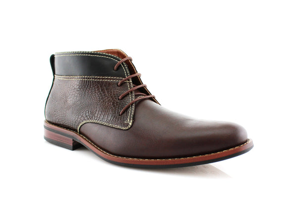 Dark Brown Striker Chukka Boots Classic Western Men's Shoes Mark Side View