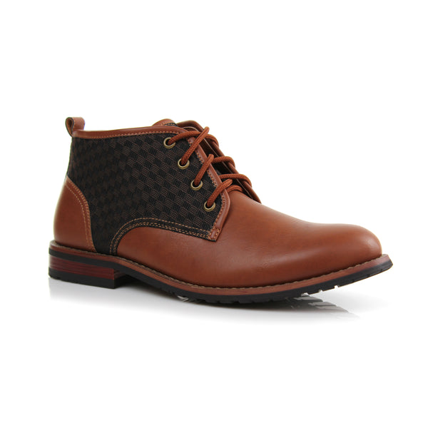 Plaid Contrast Ankle Chukka Boots | Brown | Main View