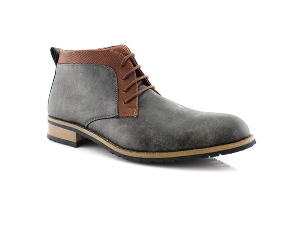 Vegan Leather Smoky Gray Chukka Boots For Man Saint Side View