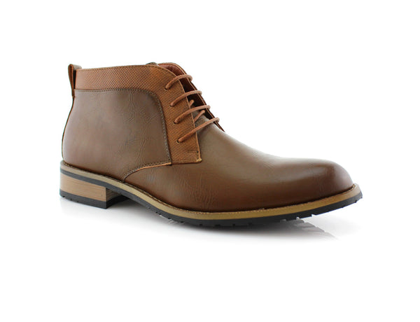 Vegan Leather Brown Chukka Boots For Man Saint Side View