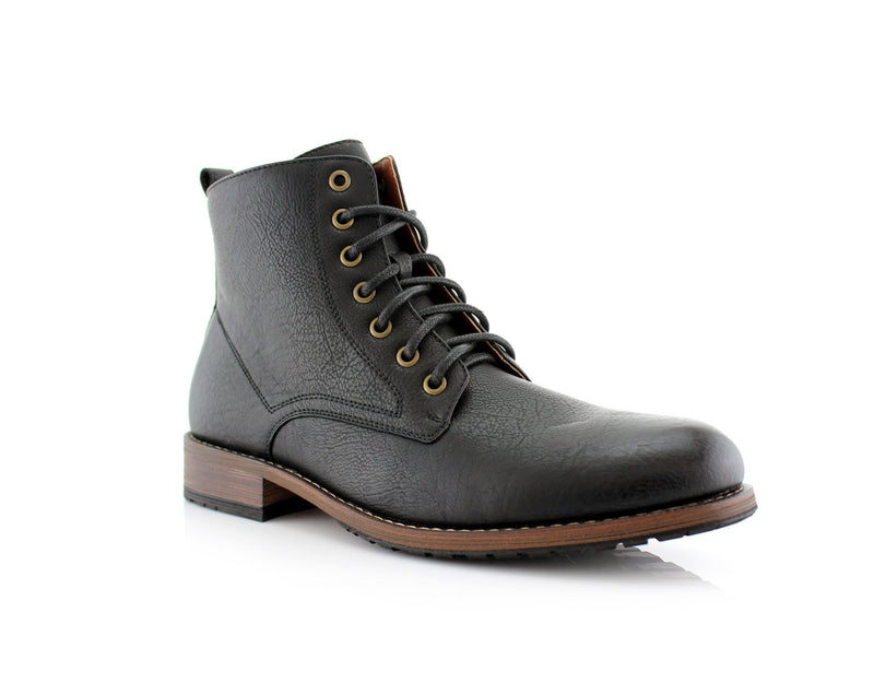 Simple Design Men's Boots Joaquin Black High Top Shoes Side View