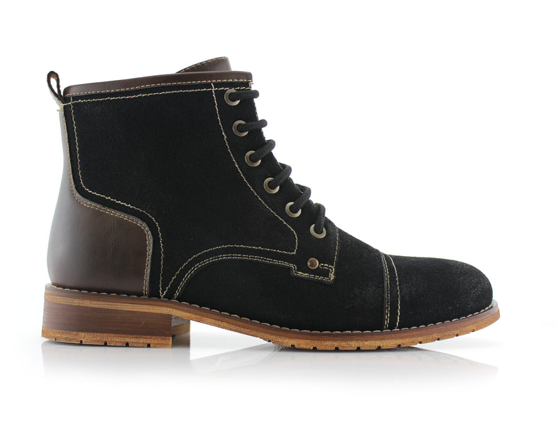 Black Rufus Suede Zipper & Lace Up Hiking Boots Side View