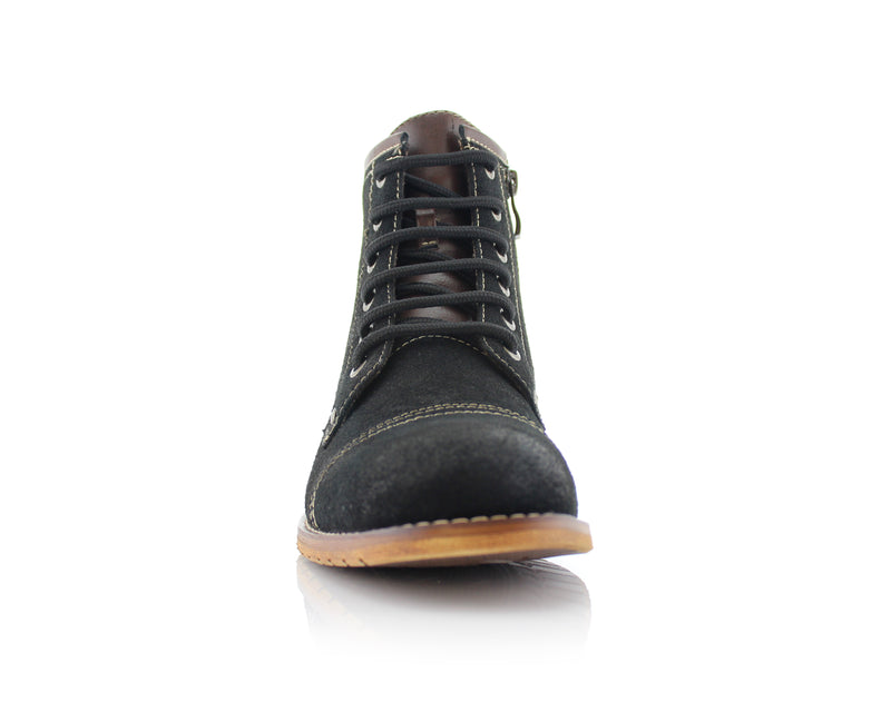 Black Rufus Suede Zipper & Lace Up Hiking Boots Front View