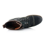 Black Rufus Suede Zipper & Lace Up Hiking Boots Top View