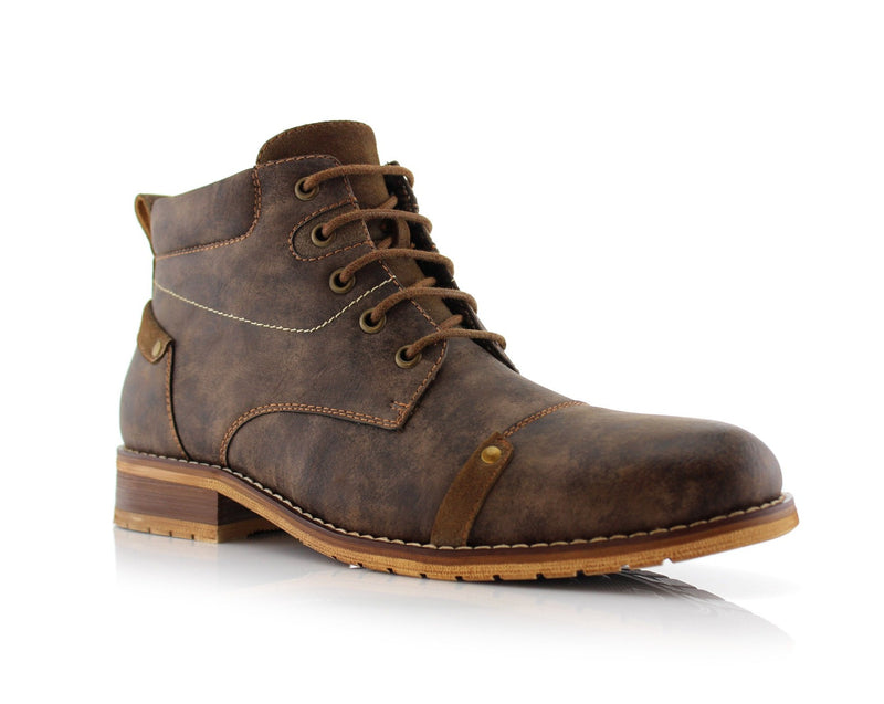 Memory Foam Casual Mid-Top Leather Sneaker Boots- HOUSTAN- Ferro Aldo