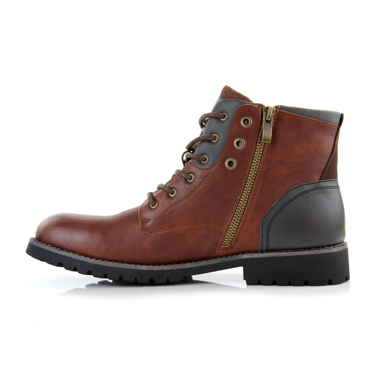 Homer-Brown Rugged men's boots with zipper