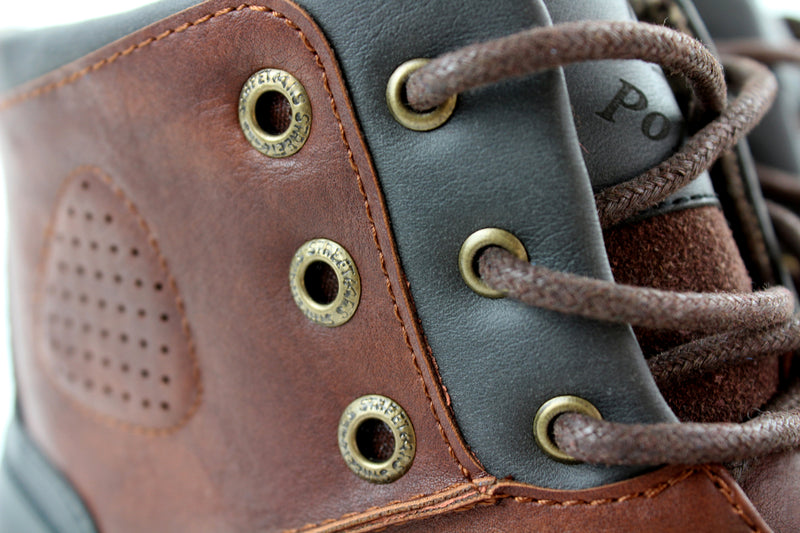 Homer-Brown Rugged men's boots buckles