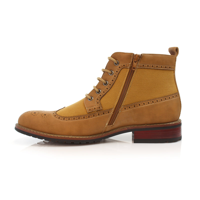 Men's Street Wear Mid-Top Casual Wing Tip Light Brown Brogue Boots Side View with side zipper