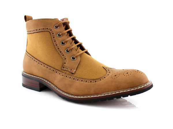 Men's Street Wear Mid-Top Casual Wing Tip Light Brown Brogue Boots Side View