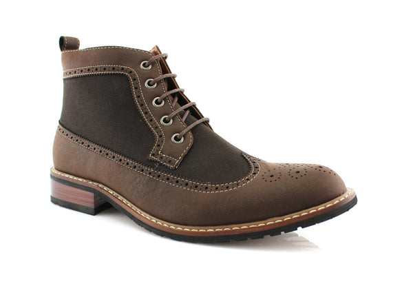 Men's Street Wear Mid-Top Casual Wing Tip Dark Brown Brogue Boots Side View