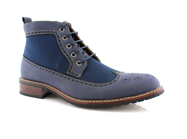 Men's Street Wear Mid-Top Casual Wing Tip Blue Brogue Boots Side View