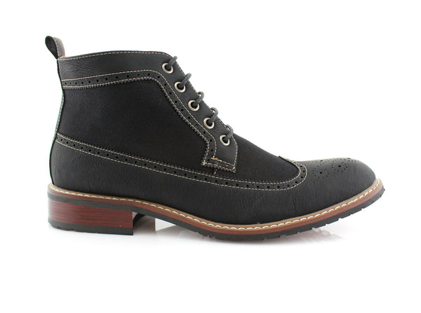 Men's Street Wear Mid-Top Casual Wing Tip Black Brogue Boots Side View