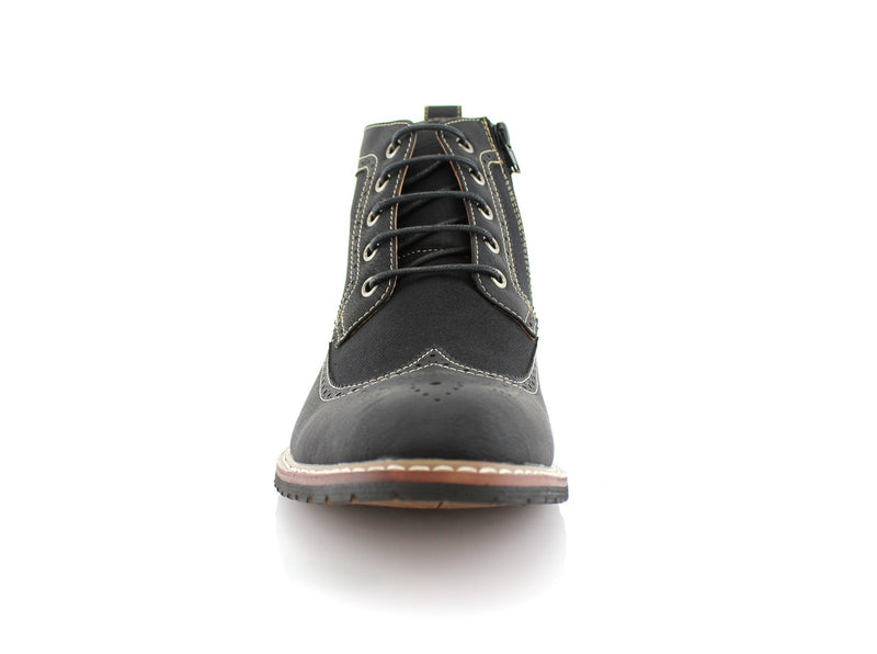 Men's Street Wear Mid-Top Casual Wing Tip Black Brogue Boots Front View