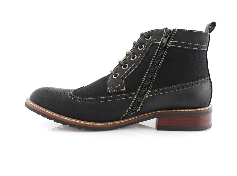 "Men?""Žs Street Wear Mid-Top Casual Wing Tip Black Brogue Boots Side View"