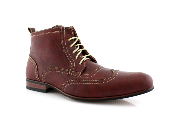Red wine Men's Dress Mid Top Boots with Wingtip Side View