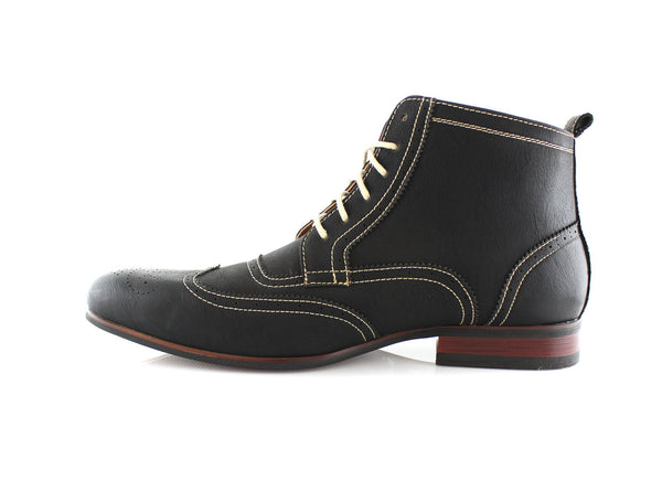 Black Men's Dress Mid Top Boots with Wingtip Side View