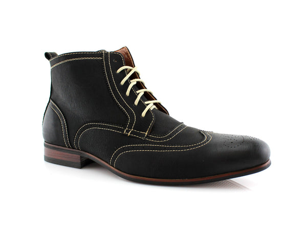 Men's Dress Boots with Wingtip Conal Footwear Male Casual Shoes