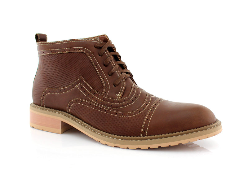 Dark Brown Retro Ankle Boots For Men Ethan Side View