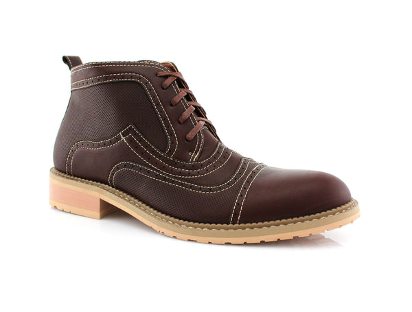 Burgundy Retro Ankle Boots For Men Ethan Side View