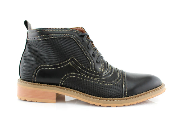 Black Retro Ankle Boots For Men Ethan Side View