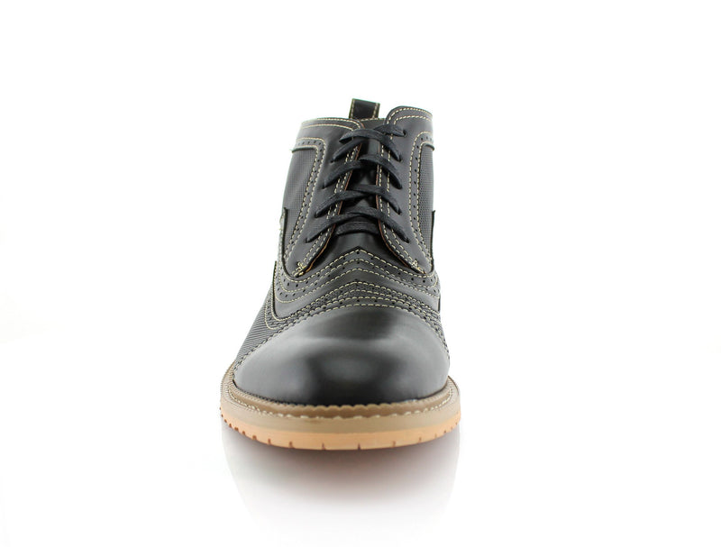 Black Retro Ankle Boots For Men Ethan Front View