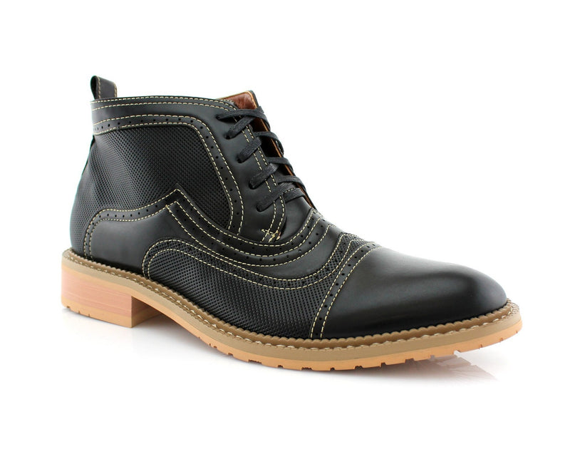 Retro Ankle Boots | Ethan | Men's Brogue Stitching Shoes | CONAL FOOTWEAR
