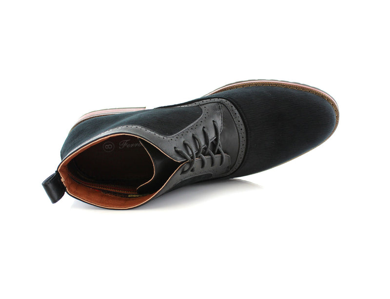 Black Velvet Derby Dress Boots For Men Andre Overlook