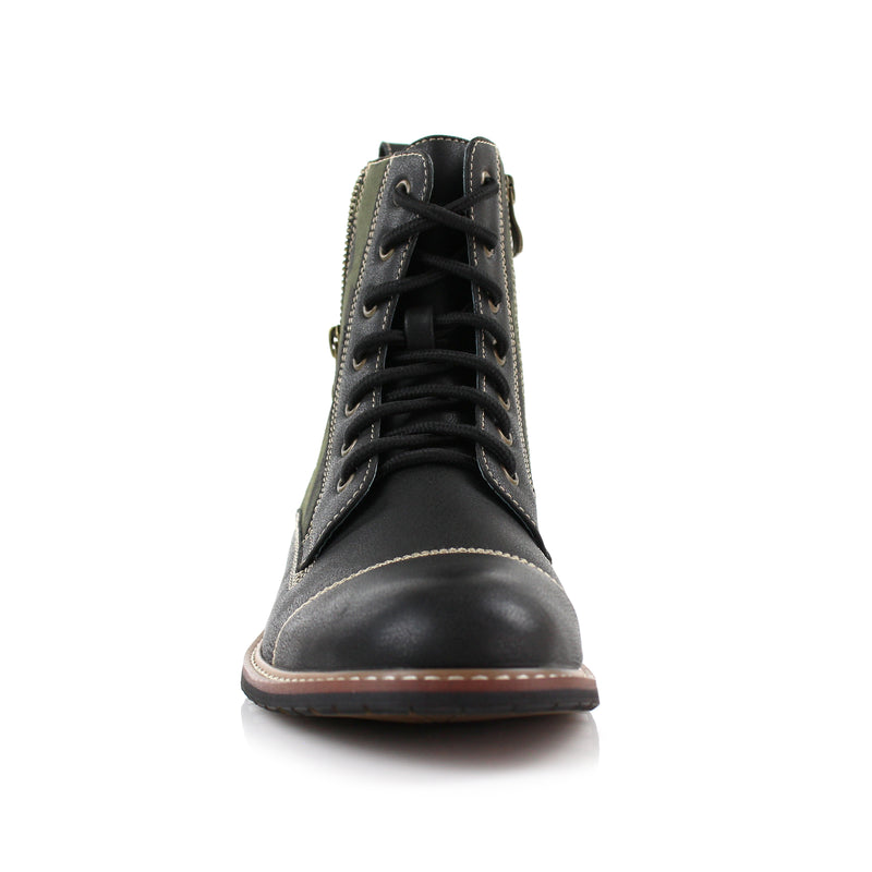 Black Camouflage pattern fashion combat boots with cap toe front view