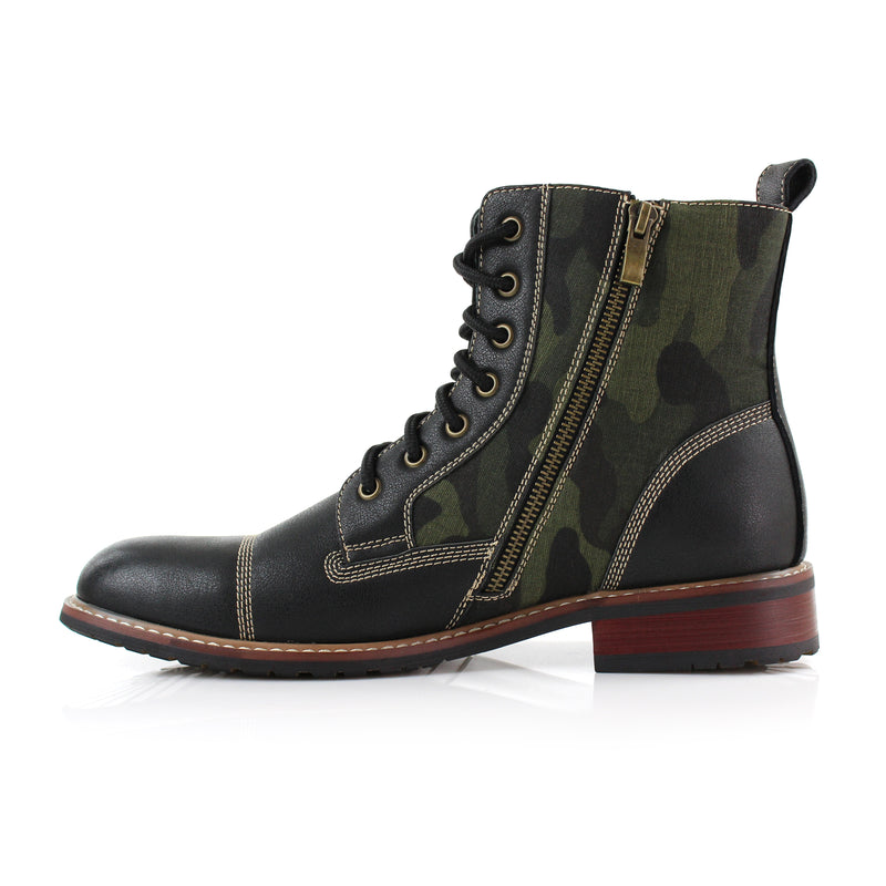 Black Camouflage pattern fashion combat boots with cap toe size view with zipper