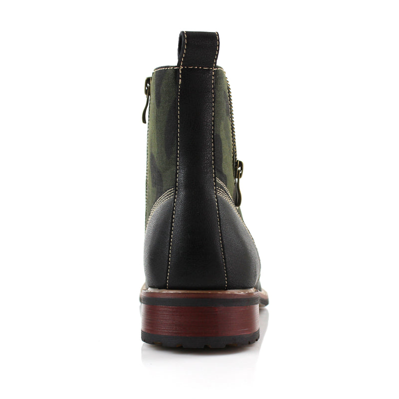 Black Camouflage pattern fashion combat boots with cap toe back view
