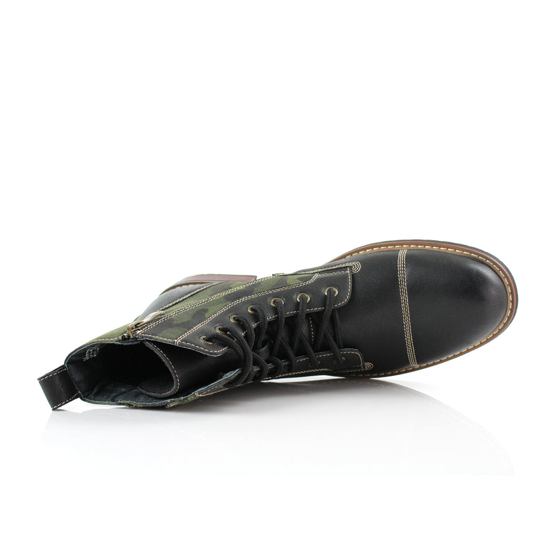 Black Camouflage pattern fashion combat boots with cap toe top view