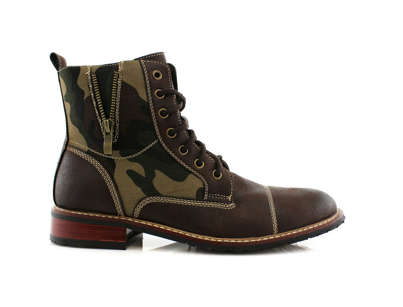 Dark brown Black Camouflage pattern fashion combat boots with cap toe side view