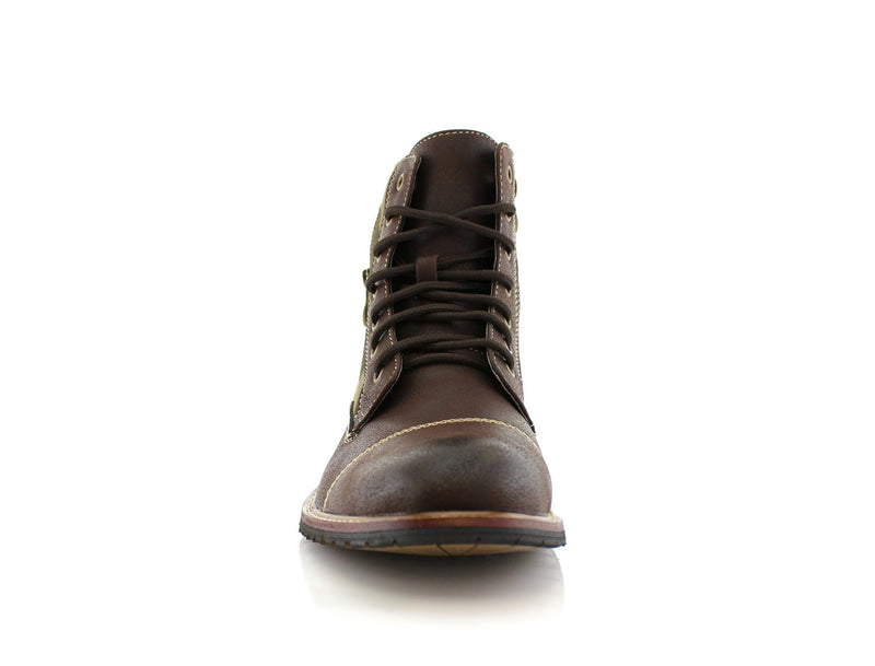Dark brown Black Camouflage pattern fashion combat boots with cap toe front view