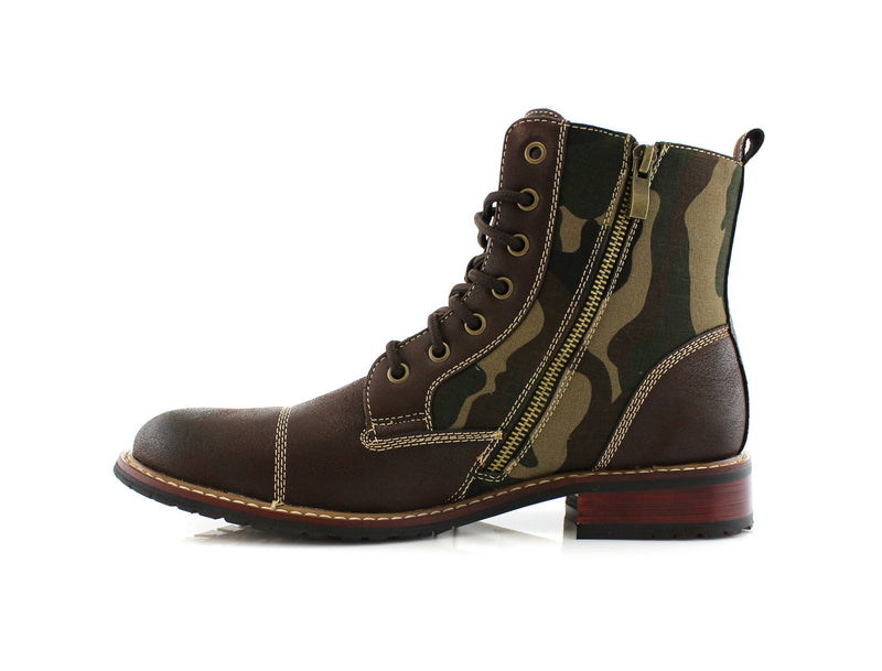 Dark brown Black Camouflage pattern fashion combat boots with cap toe side view with long metal zipper