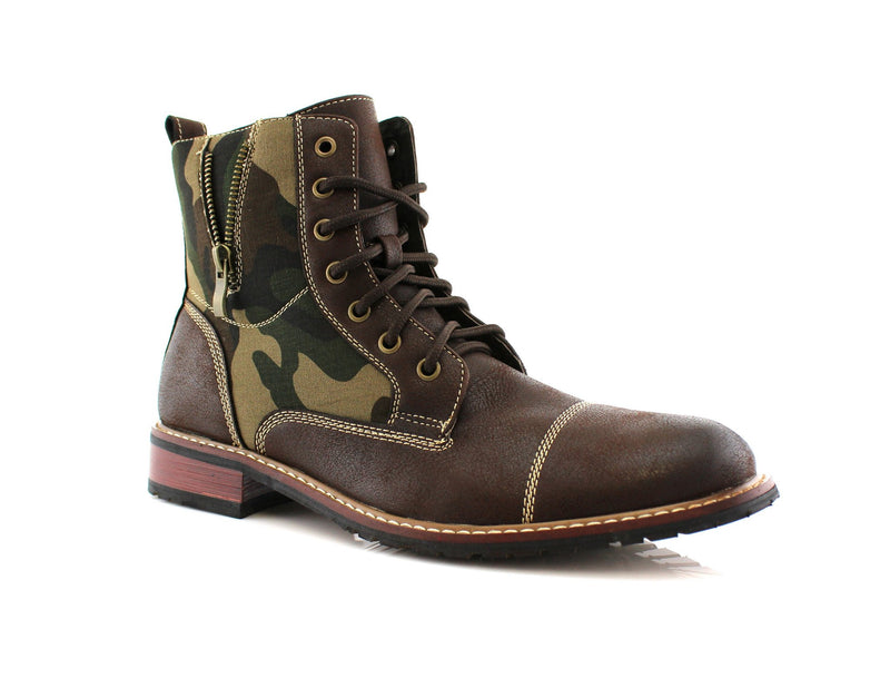Dark brown Black Camouflage pattern fashion combat boots with cap toe product image