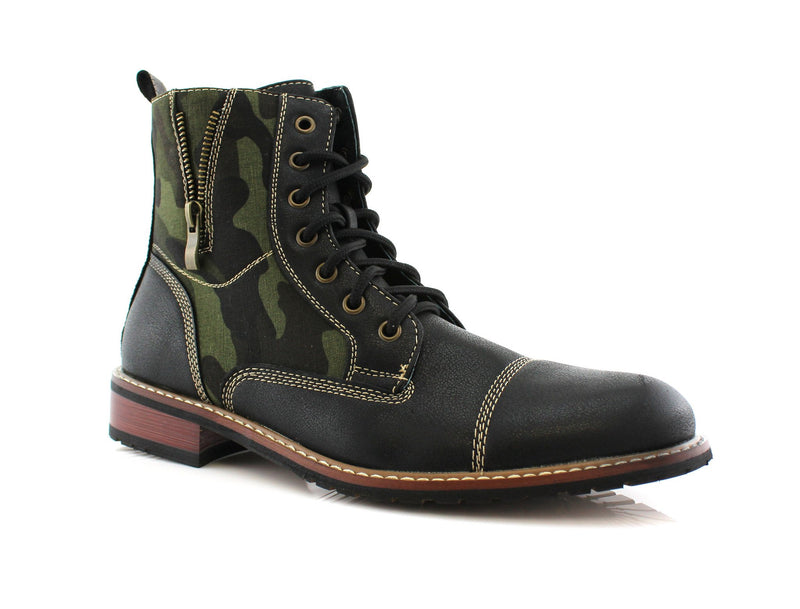 Camouflage pattern fashion combat boots with cap toe product picture