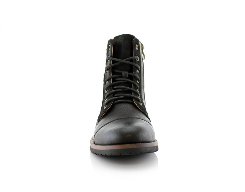 Black Men's Fashionable Boots For Pants Reid Front View