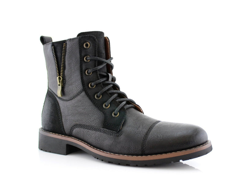 Combat Suede Zipper Boots | Reid| Men's Fashionable Boots For Pants | CONAL FOOTWEAR