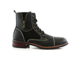 Black Men's Combat Fashion Boots Andy Side View
