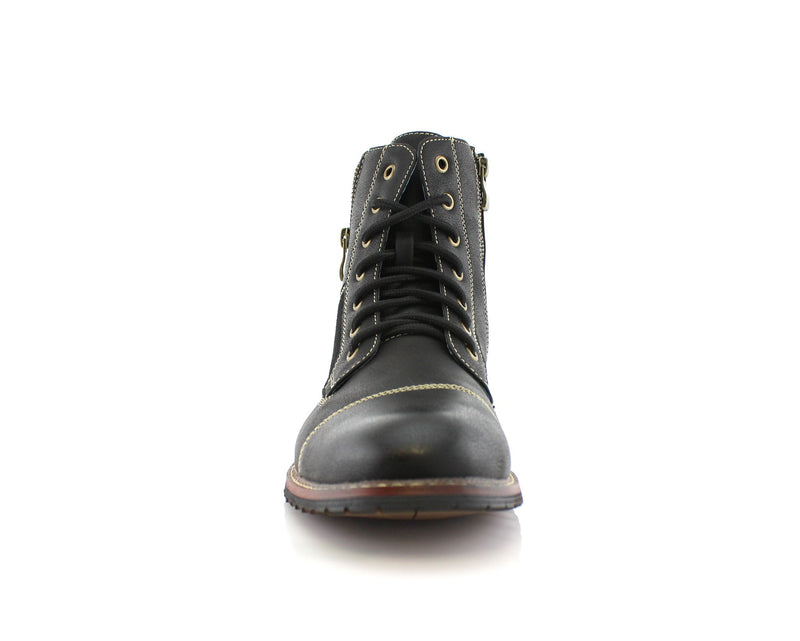 Black Men's Combat Fashion Boots Andy Front