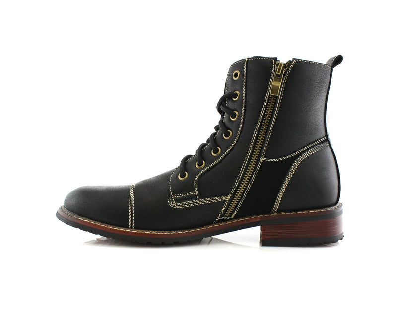 Black Men's Combat Fashion Boots Andy Side with Zipper