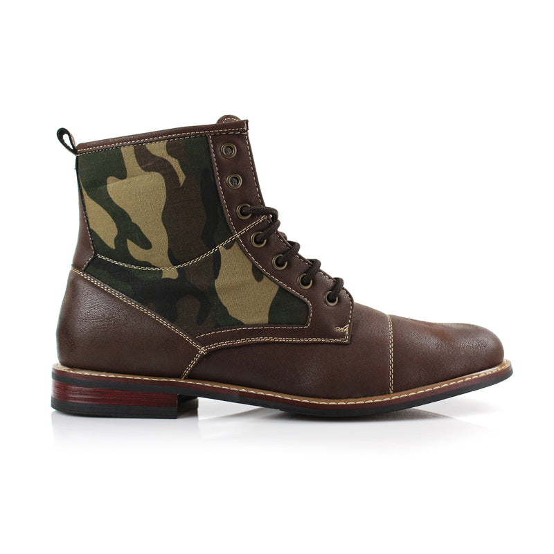 Brown combat boots Military camouflage pattern fashion wear