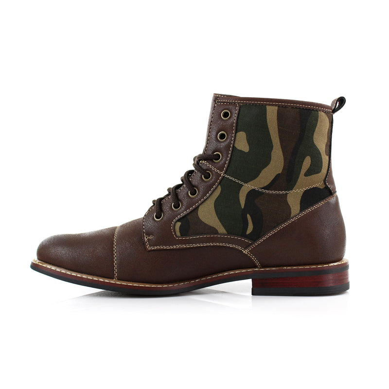 Brown combat boots Military camouflage pattern fashion wear side View