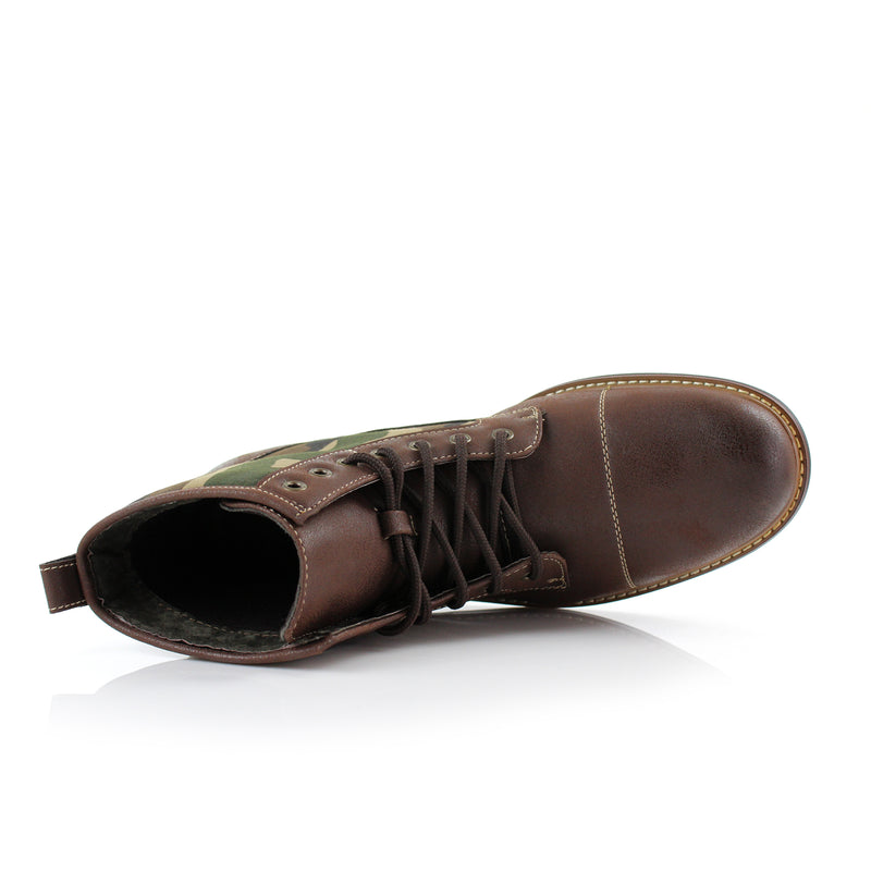 Brown combat boots Military camouflage pattern fashion wear Top View
