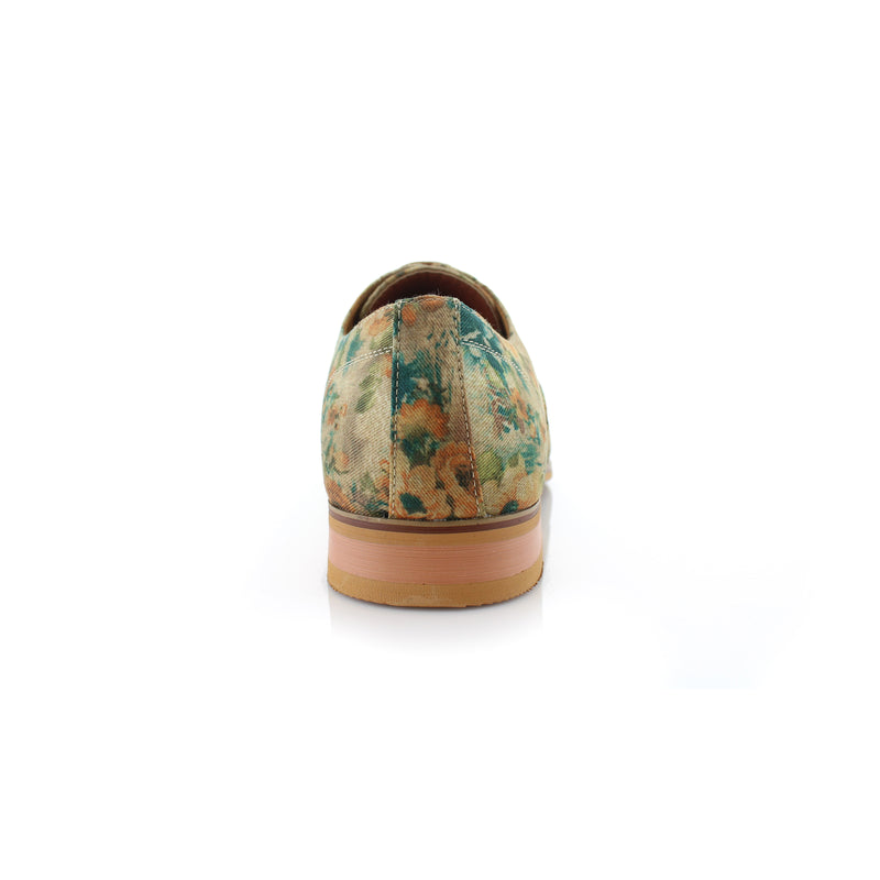Green Floral Print Fashion Shoes For Men Dress Shoes Back View