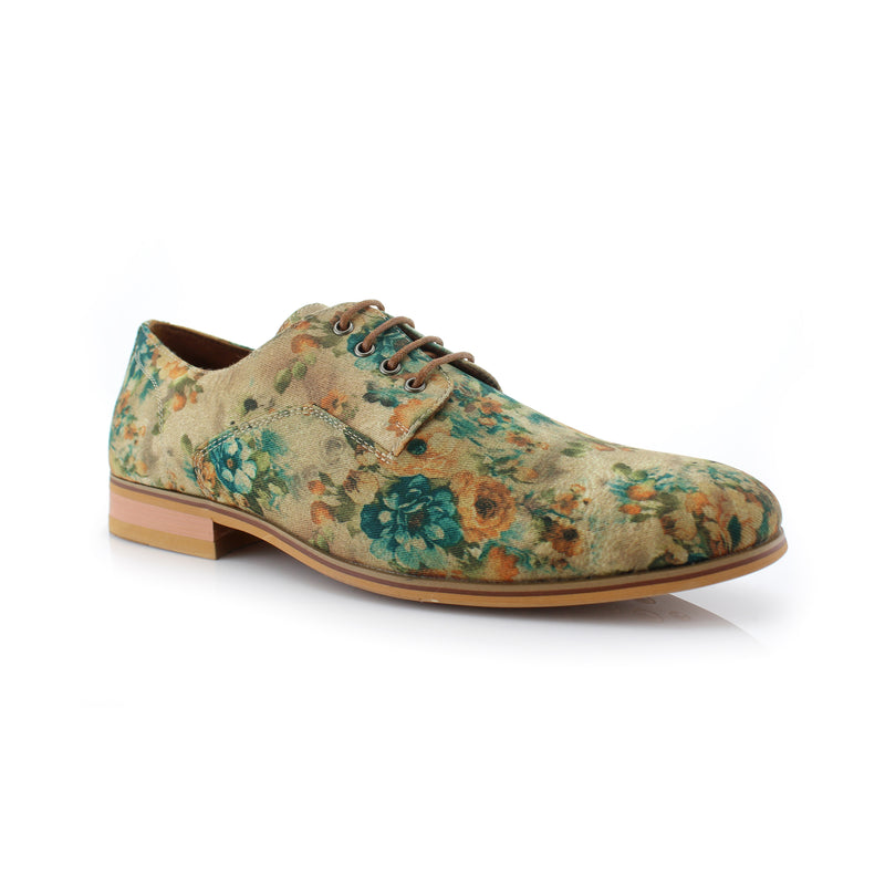 Green Floral Print Fashion Shoes For Men Dress Shoes Side View